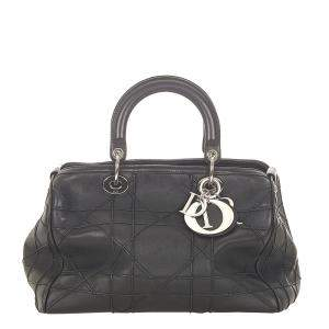 Dior Black Cannage Quilted Leather Granville Tote Bag