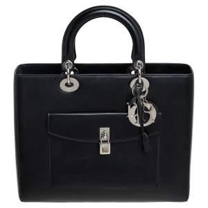 """حقيبة يد ديور """"ليدي ديور"""" بوكيت كبيرة جلد أسود"""