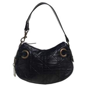 حقيبة هوبو ديور حلية حرف دي جلد كاناج أسود