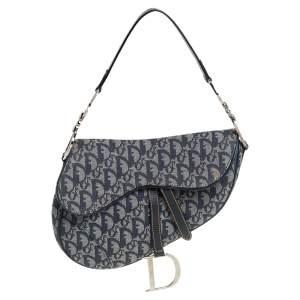 Dior Blue Oblique Canvas and Leather Saddle Bag