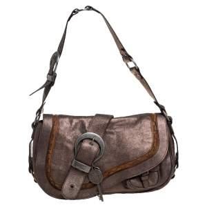 Dior Metallic Leather Large Gaucho Double Saddle Shoulder Bag