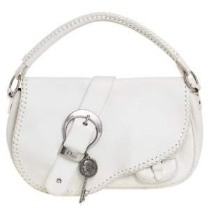 Dior White Leather Whipstitch Gaucho Hobo