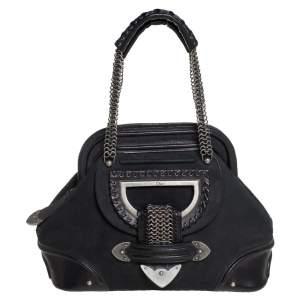 Dior Black Nubuck and Leather Jeanne Frame Satchel