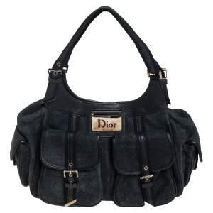 Dior Black/Navy Blue Nubuck and Leather Multi Pocket Shoulder Bag
