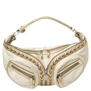 Dior White/Gold Oblique Jacquard Fabric Hobo