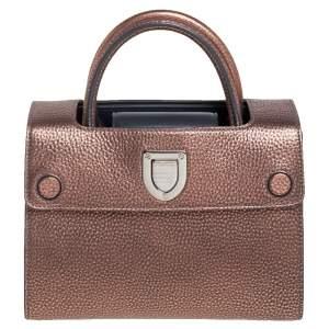 Dior Metallic Copper/Grey Pebbled Leather Mini Diorever Tote