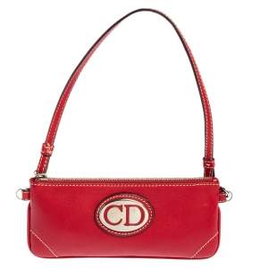 Dior Red Leather CD Plaque Logo Pochette