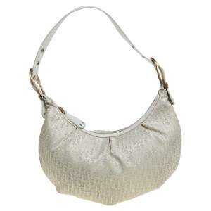 Dior Beige/White Oblique Canvas and Leather Ethnic Hobo