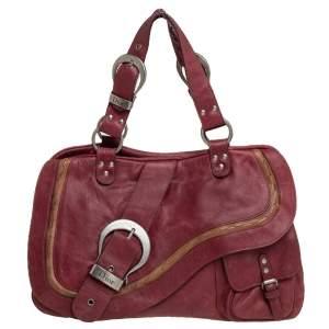 Dior Burgundy Leather Double Saddle Shoulder Bag