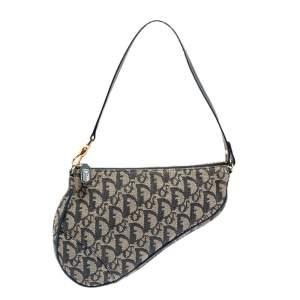Dior Blue/Grey Oblique Canvas and Leather Saddle Bag