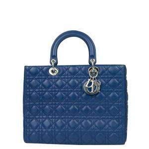 Dior Blue Leather Large Lady Dior Tote Bag