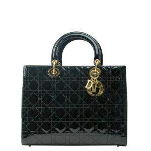 Dior Black Patent Leather Large Lady Dior Tote Bag