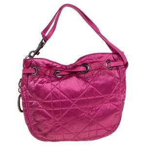 Dior Pink Cannage Quilted Nylon Drawstring Bucket Bag
