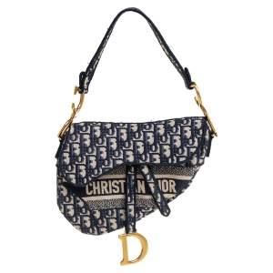 Dior Blue Diorissimo Canvas Saddle Shoulder Bag