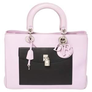 Christian Dior Purple Leather Diorissimo Pocket Tote Bag