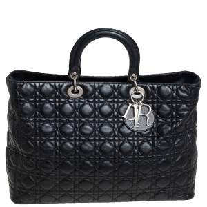 Dior Black Quilted Leather Soft Lady Dior Tote