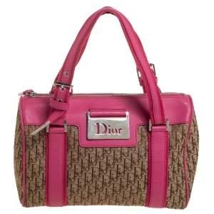 Dior Pink/Beige Diorissimo Canvas Small Boston Bag