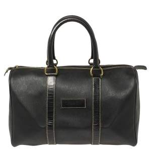 Dior Black Honeycomb Print Coated Canvas and Leather Boston Bag