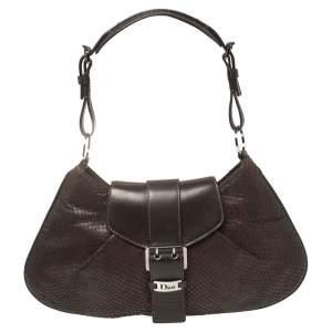 Dior Dark Brown Leather and Snakeskin Buckle Flap Hobo