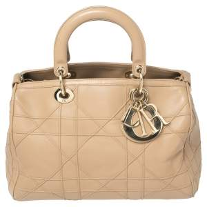 Dior Beige Cannage Leather Granville Polochon Satchel