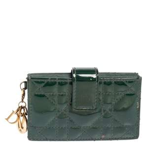 Dior Green Patent Cannage Leather Gusset Card Holder