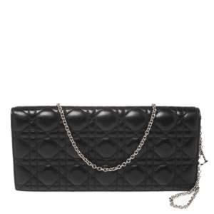 Dior Black Cannage Leather Lady Dior Chain Clutch