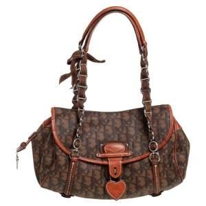 Dior Brown Oblique Coated Canvas and Leather Trim Romantique Shoulder Bag