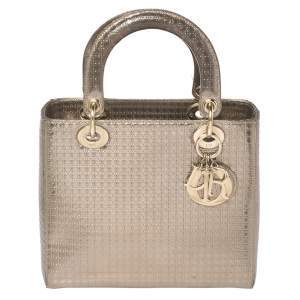 Dior Metallic Gold Micro Cannage Leather Medium Lady Dior Tote