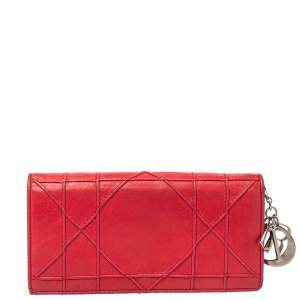 Dior Coral Red Leather Flap Wallet
