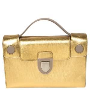 Dior Gold Leather Diorever Clutch