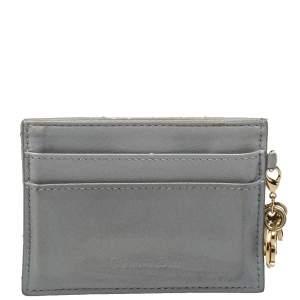 Dior Grey Cannage Leather Lady Dior Card Holder