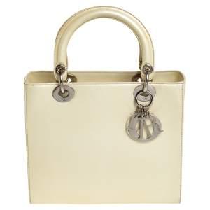 Dior Cream Leather Medium Lady Dior Tote