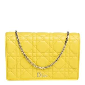 Dior Yellow Cannage Leather Lady Dior Wallet on Chain