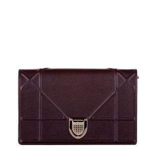 Dior Burgundy Leather Diorama Shoulder Bag