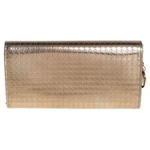 Dior Metallic Gold Microcannage Patent Leather Croisiere Wallet On Chain