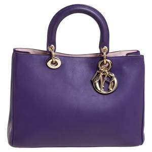 Dior Violet Leather Medium Diorissimo Shopper Tote