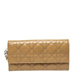 Dior Beige Cannage Patent Leather Lady Dior Wallet on Chain