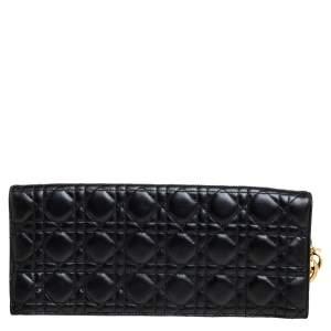 Dior Black Cannage Leather Foldover Clutch