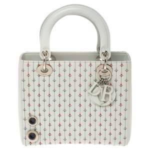 Dior Light Blue Embroidered Leather Medium Lady Dior Tote