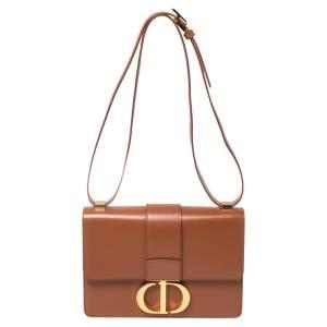 Dior Brown Leather Montaigne 30 Flap Shoulder Bag