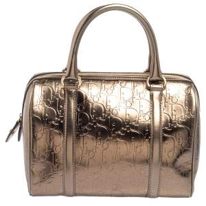 Christian Dior Metallic Oblique Embossed Leather Boston Bag