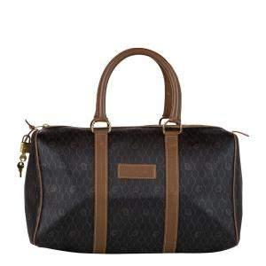Dior Black/Brown Honeycomb Canvas Boston Bag