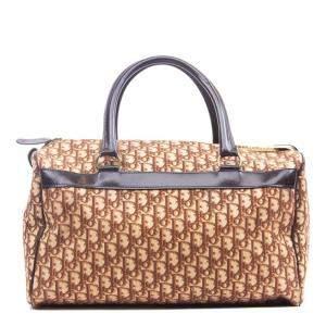Christian Dior Brown Oblique Canvas Trotter Boston Bag
