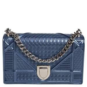 Dior Blue Micro Cannage Patent Leather Mini Diorama Chain Shoulder Bag