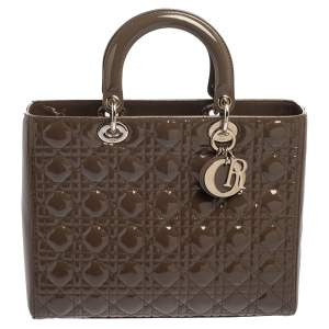 Dior Brown Cannage Patent Leather Large Lady Dior Tote