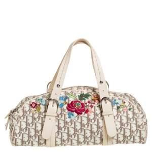 Dior White Dior Oblique Floral Canvas And Leather Boston Bag