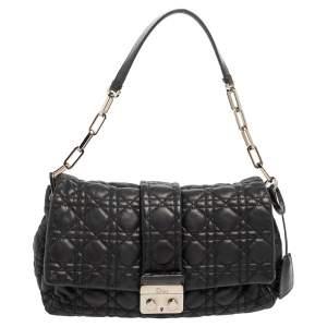 Dior Black Cannage Leather Medium New Lock Shoulder Bag