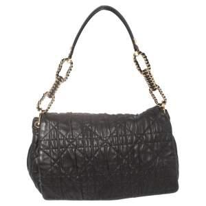 Dior Black Cannage Leather Delidior Flap Shoulder Bag