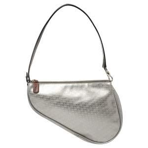 Dior Silver Oblique Matte Leather Saddle Bag