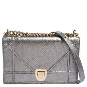 Dior Metallic Grey Python Leather Medium Diorama Flap Shoulder Bag